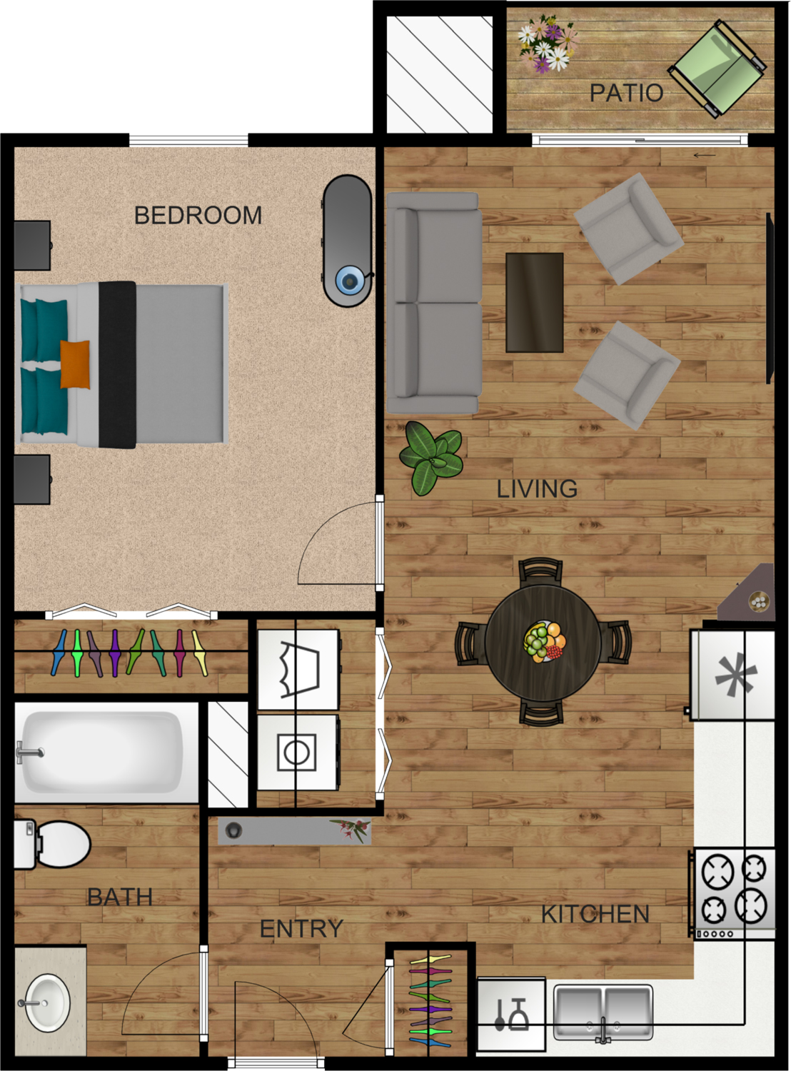 1 Bed 1 Bath (Chestnut)